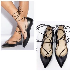 M. GEMI black brezza leather pointed toe flats 37